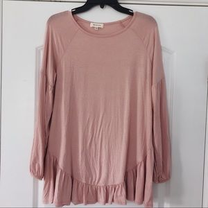 Hailey & Co. || blush ruffle blouse